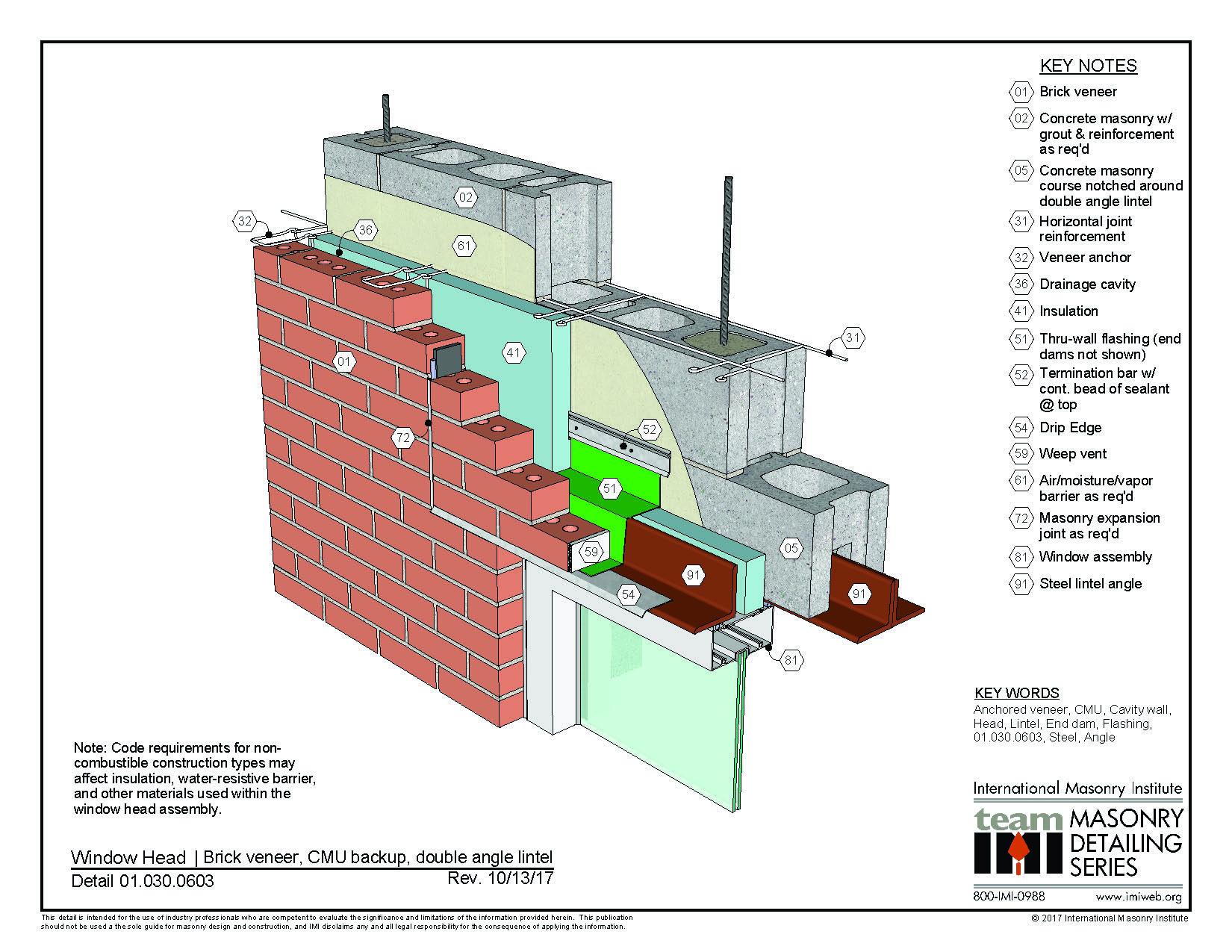 01 030 0603 Window Head Detail Brick Veneer Cmu Backup