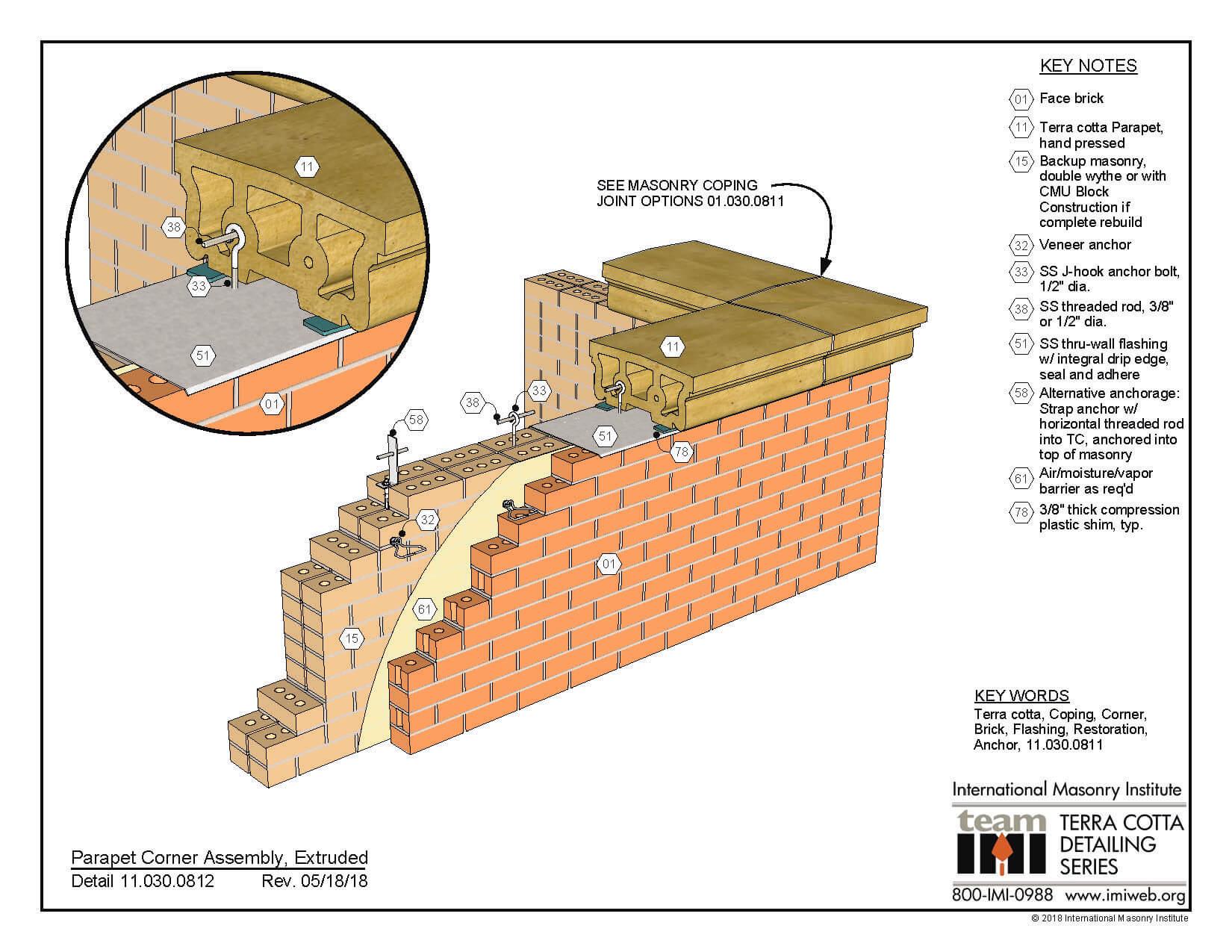 11 030 0811 Parapet Corner Assembly Extruded