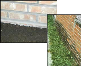 The RIGHT way (left) to extend brick veneer below grade...and the WRONG way