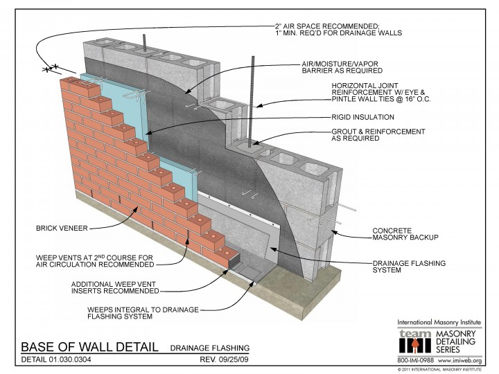 Base of wall detail drainage flashing for Architecture 2d