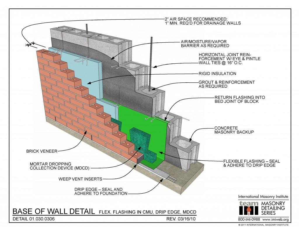 01 030 0306 Base Of Wall Detail Flex Flashing In Cmu
