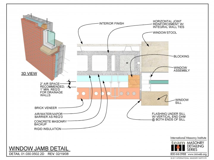 01 030 0502 2d Window Jamb Detail International Masonry