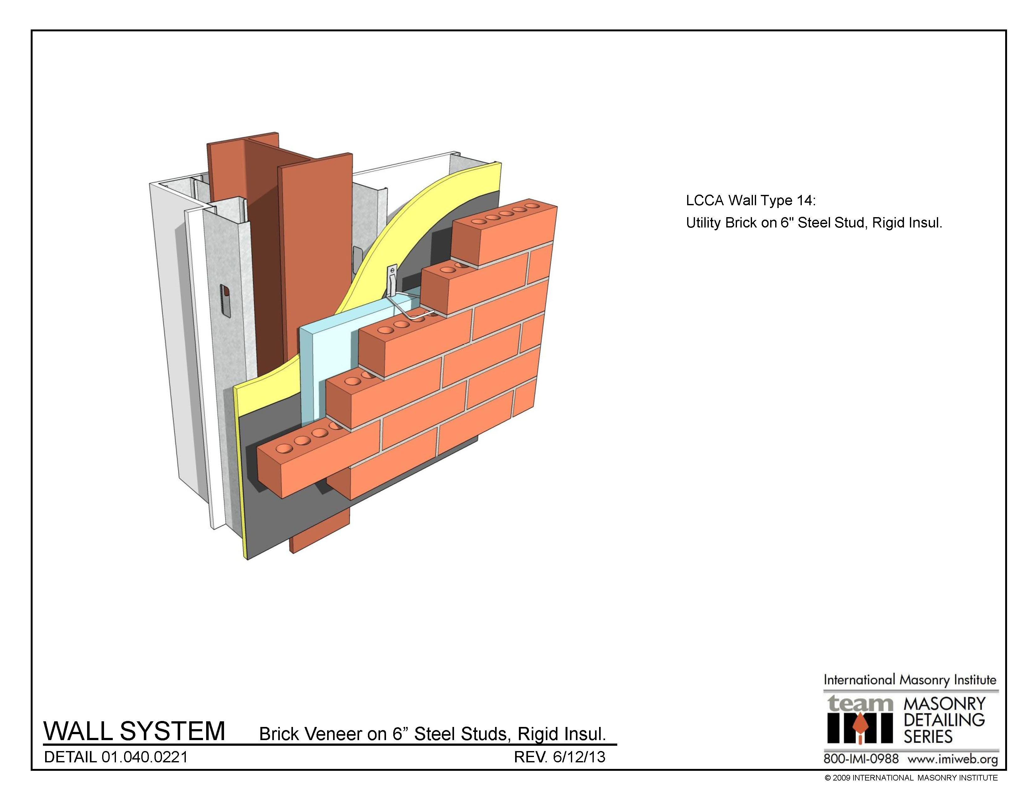 01 040 0221 Wall System Brick Veneer On 6 Steel Studs