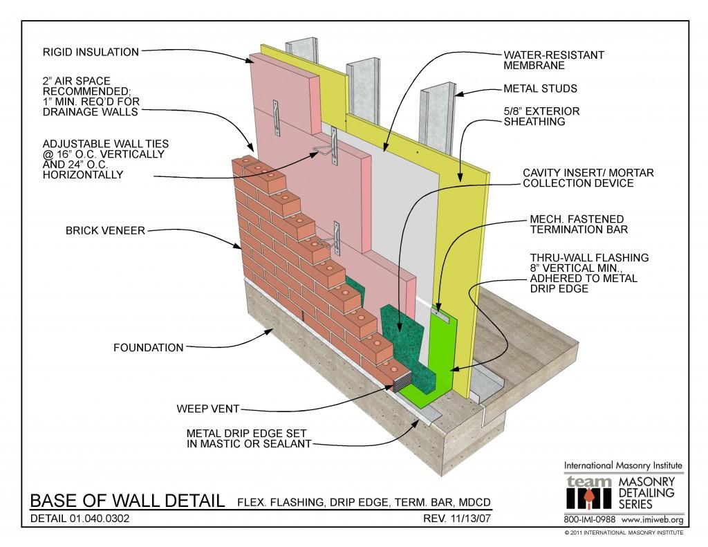 01 040 0302 2d Base Of Wall Detail Flex Flashing Drip