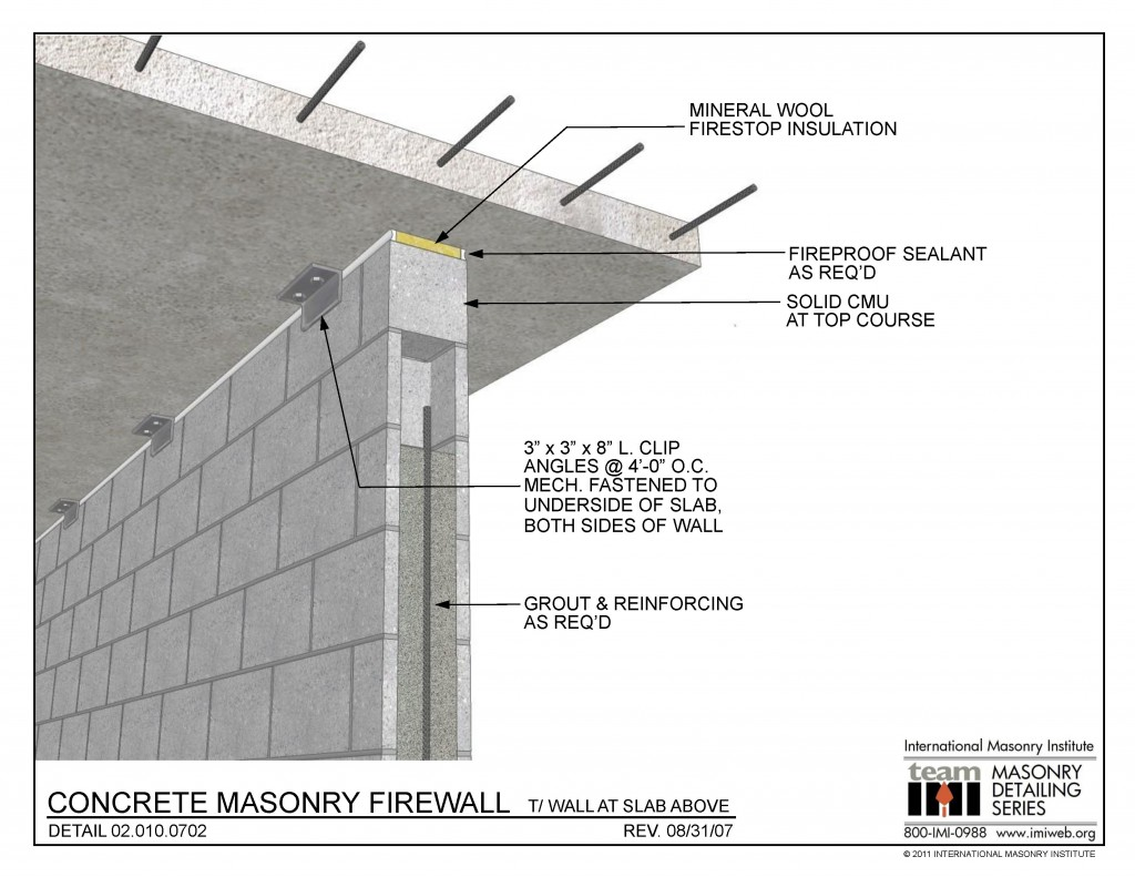 02 010 0702 Concrete Masonry Firewall T Wall At Slab