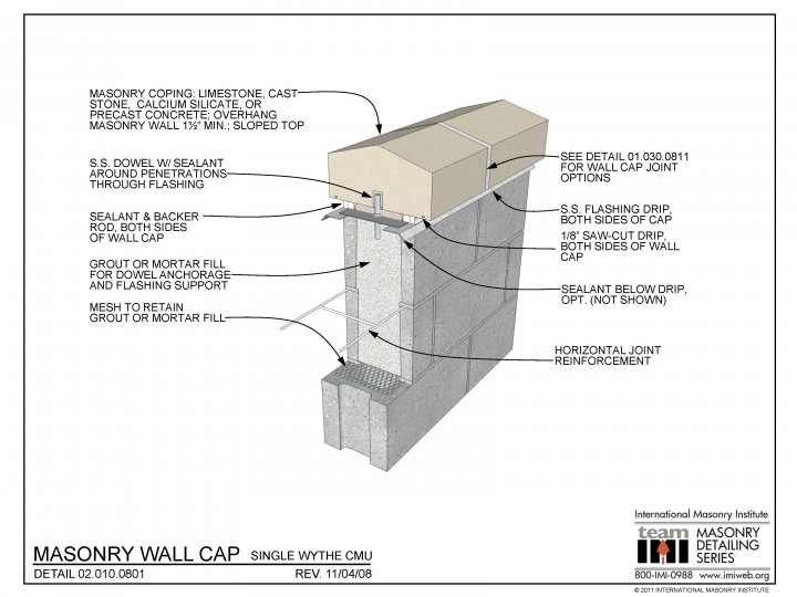 02 010 0801 Masonry Wall Cap Single Wythe Cmu