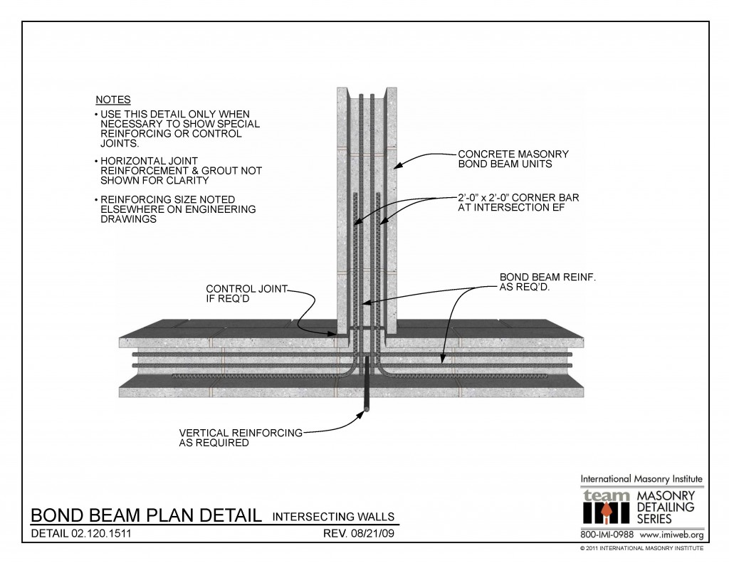 02 120 1511 Bond Beam Plan Detail Intersecting Walls