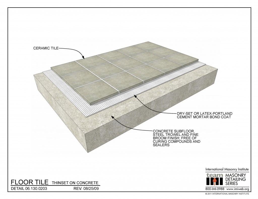 06 130 0203 Floor Tile Thinset On Concrete