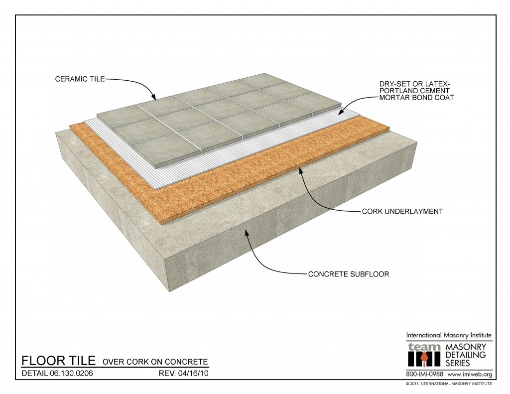 06 130 0206 Floor Tile Over Cork On Concrete