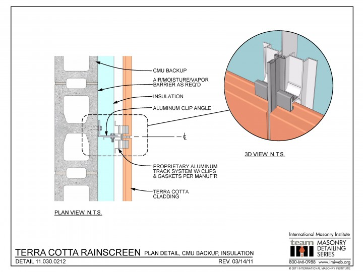 Terra cotta rainscreen plan detail cmu for Insulated concrete masonry units