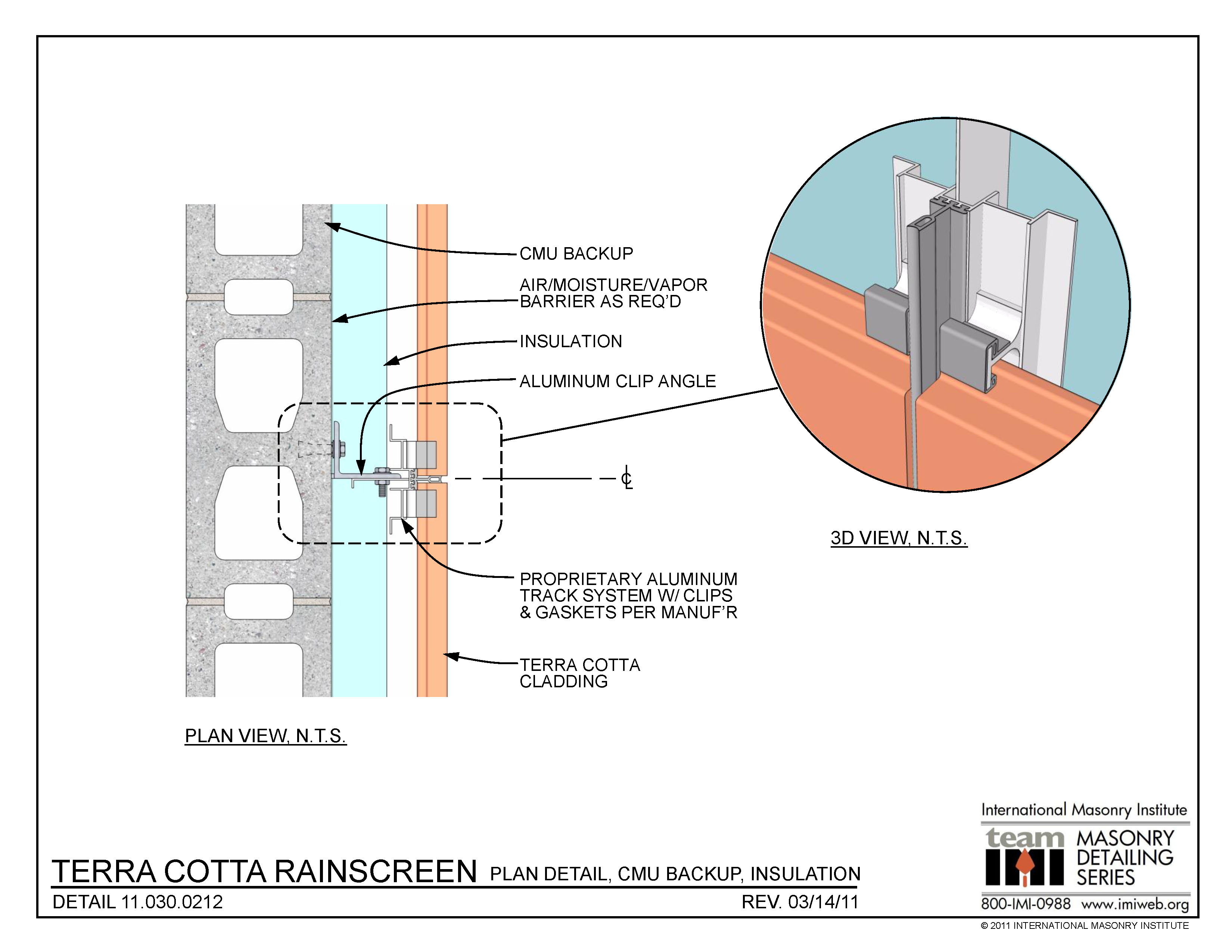 11.030.0212: Terra cotta rainscreen - Plan detail, CMU ...