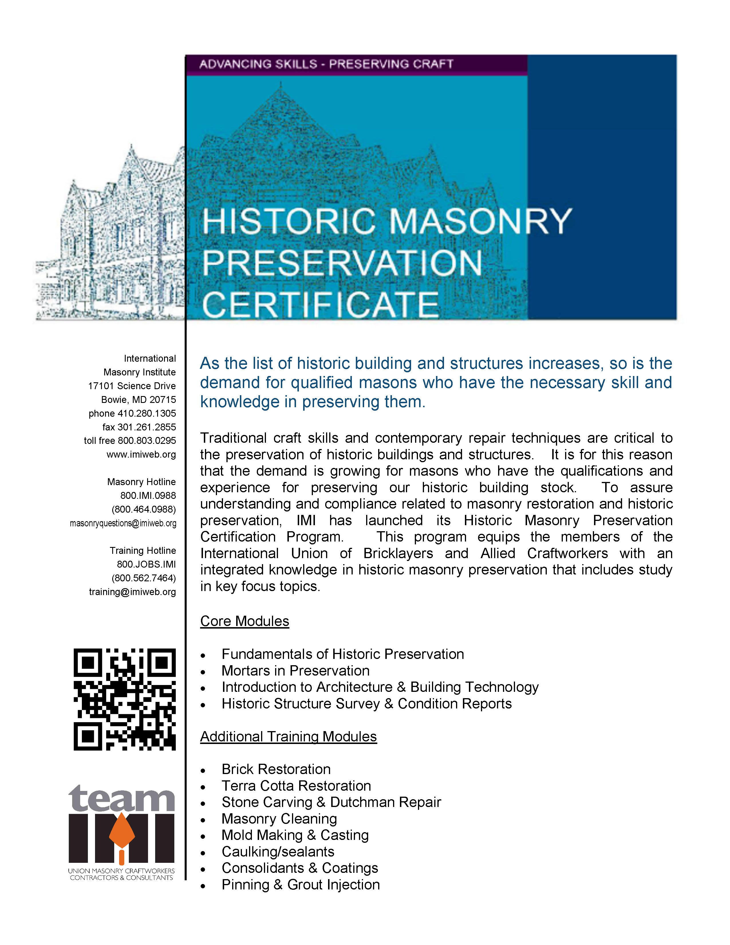 Imi Hmp Certificate Program Flyerpage1 International Masonry